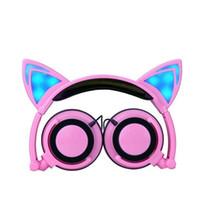 折れた猫の耳のヘッドフォンのゲームヘッドセットイヤホンブラック