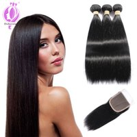 Brazilian Straight Hair 3 Bundles With a Free Part Lace Clos...