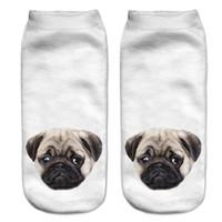 Gros-Lovely 3D Pugs Dogs chaussettes imprimées Femmes Nouveau Unisexe Cute Low Cut Ankle Socks chaussettes en coton Femmes Casual Charactor Socks