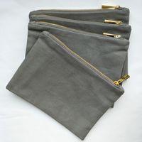 refroidir gris épais et 12 onces sac de maquillage de toile de coton durable avec doublure en or zip or 6 * 9in refroidir sac cosmétique toile grise bateau libre toute couleur
