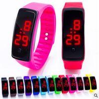 2017 Sport LED Watch Candy Jelly hombres mujeres goma de silicona pantalla táctil Digital impermeable relojes pulsera reloj de pulsera de espejo