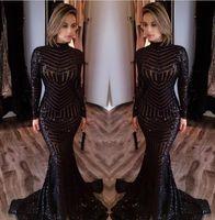 La sirena sexy abiti da sera nero Abiti 2017 di nuova alta del collo a maniche lunghe paillettes Prom sweep treno tappeto rosso della celebrità Gowns