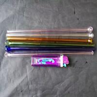paille ronde en verre bong accessoires, Tubes en verre d'huile unique brûleur Bangs Les conduites d'eau en verre Tuyau d'huile Rigs fumeurs avec Dropper