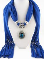 Bijoux écharpe pendentif avec des perles Mixte coloré Foulards Charms Croix Collier écharpes pour les femmes
