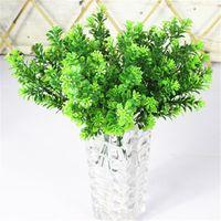 도매 - 저렴한 7 지점 / 꽃다발 35 머리 인공 녹색 식물 가짜 밀란 잔디 분재 장식 잎 코너 잔디 장식