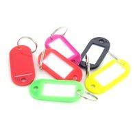 50 / Pcs en plastique Keychain Id et étiquettes de nom avec anneau fendu pour porte-clés Bagages Porte-clés 5cm x2.2cm 77