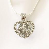 """""""It's A Girl"""" Locket en forma de corazón Jaula colgante de montaje, DIY perla joya perla colgante collar Fit encantos de amor"""