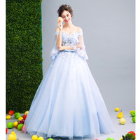 SSYFashion New Romantic Blue Flower Fairy Evening Dress Brid...