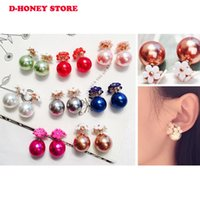 2017 new hot design fashion brand jewelry Flowers stud earrings double Imitation pearls style Statement earring for women