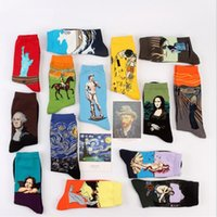 P1 Free Shipping Fashion Art Cotton Crew Socks Painting Char...