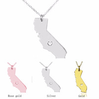 Штат Калифорния ожерелье карта кулон ожерелья США государство подвески карта ожерелье с сердцем ювелирные изделия ручной работы