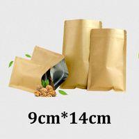 9x14cm marrone risigillabile imballaggi con chiusura a lampo per alimenti in carta kraft foderati di sacchetti di cibo in carta kraft