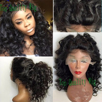 Cheap hot sale deep wave synthetic lace front wig heat resis...