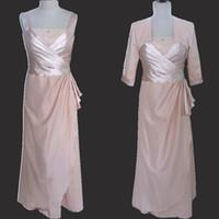 Image réelle Robes de mariée de la mère avec les vestes Perles Cristaux Ruched gaine colonne robes de soirée de la mère robe de mariage modeste
