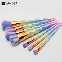Vander Pro 7pcs Set Gradient Rainbow Makeup Brushes Purple C...
