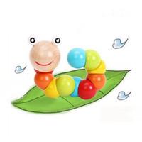L'enseignement de la petite enfance tord et tourne insectes insectes jouets en bois bébé exercice couleur caterpillar en bois massif 0-3 ans