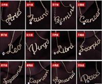 Modeschmuck 12 Sternzeichen Brief Anhänger Halskette Damen Damen Halsreifen Pullover Kette Vintage Zwölf Konstellationen Brief Halsketten