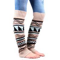 Al por mayor Nueva otoño e invierno moda mujer de camuflaje Bohemia montones de lana gruesa Sra hechizo botas de color conjunto polainas