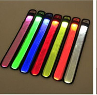 Nylon LED Sports Slap Wrist Strap Bands Wristband Light Flas...