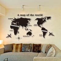 3D ملصقا غرفة المعيشة أريكة ثلاثي الأبعاد الاكريليك كريستال خريطة العالم ملصقات الحائط ديكور غرفة