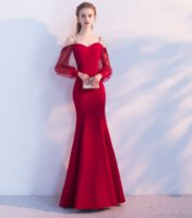 Evening Dress 2017 Wine Red Satin Spaghetti Long Sleeve Merm...
