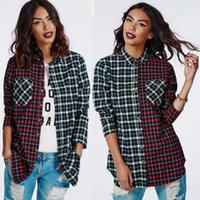 New Spring Women' s Casual Plaid Shirt Blouse with Pocke...
