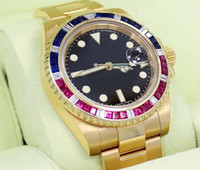 Mens Basel GMT 116718 Yellow Gold PEPSI Diamonds Rubies Sapp...