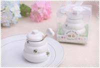 "DHL / Fedex libre 100pcs ""Meant to Bee"" cerámica Honey Pot regalo de boda tarro de miel de porcelana regalos de boda y favores suministros"