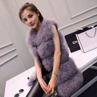 Otoño invierno nuevo lujo de lujo real natural avestruz folleto mediano chaleco largo sin mangas piel sin mangas piel de cuero cuero cálido casacos sml