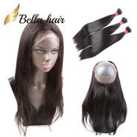 Bellahair 360 레이스 정면 클로저 스트레이트 브라질 버진 인간의 머리카락 번들 3PCS 자연 색 염색 가능한 머리카락 확장 julienchina