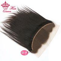 الملكة منتجات الشعر البرازيلي الإنسان الشعر التمديد مستقيم 10-20 بوصة أعلى الرباط أمامي إغلاق 13x4inch السويسري الدانتيل dhl مجانا