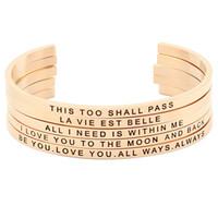 Розовое золото из нержавеющей стали позитивный вдохновляющий браслет один день в гравировку цитата 4 мм браслет мантра браслет для мужчин