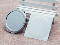 62mm 둥근 소형 거울 빈 + 에폭시 스티커 메탈 메이크업 미러 작은 주머니 거울 실버 미로이어 M0832 DHL 무료 배송