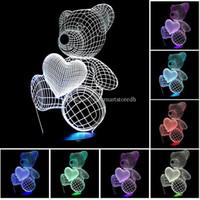 7 Renk Değişimi 3D Akrilik illusion Dokunmatik Anahtarı Lambası LED Gece Lambası Yenilik E00650 Moda