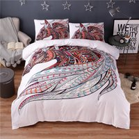 Colorful Horse Printing Abstract Bedding Set White Duvet Cov...