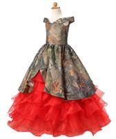 Mode Camo Rouges à volants Robes Flower Fleur de boule avec la dentelle Longueur des filles Filles Robe de la promenade de la première communion BF05