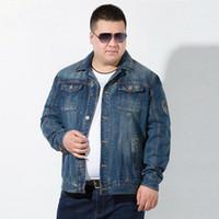 Nuovo arrivo 7XL uomini giacca casual da uomo business casual jeans tuta sportiva maschio cotone giacche in denim blu profondo primavera autunno