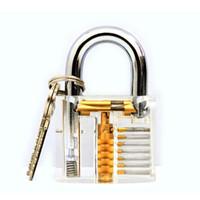 Lockmaster 7 pinos Prática em Cutaway Transparente Cadeado de Bloqueio de Acrílico Transparente com Chave Mestre do Locker para ferramentas práticas de lockpicking