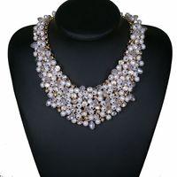 Luxus Retro Schmuck Big Chunky Übertriebene Aussage Halskette Maxi Nachahmung Perlenhalsketten Anhänger Halsketten freies verschiffen