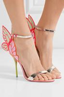 Марка горячие Webster бабочка сандалии мода София Вебстер Evangeline Ангел крыло сандалии на высоком каблуке Стилет лодыжки ремень Леди сандалии обувь