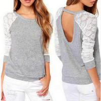 Yeni Bahar Sonbahar Kadınlar Tişörtü Backless Nakış Dantel Casual Kapüşonlular Uzun Kollu Sweatshirt Bayanlar Serbest Kargo