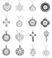 neue 10 Stücke sortiert Frauen Silber Ingwer 18mm Druckknöpfe Chunk Charms Anhänger Halsketten Großhandelslose