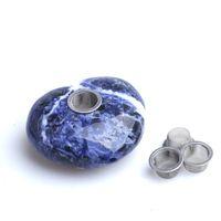 5-6cm HJT Venta al por mayor Nuevo corazón caído Cristal Azul Piedras preciosas para fumar Pipas de tabaco de cristal de cuarzo + 3 pantallas Envío gratis