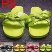 Rihanna Felde Bandana слайд WNS Bowtie женщин тапочки пляжные туфли 10 цветов летнее новое поступление лук сантиновые сандалии с пыли