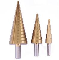 Hohe Qualität 3pcs Dreieck Schaft Schritt Bohrer / Pagode Bohrer / Leiter Bohrer Handwerkzeuge 4-12 / 4-20 / 4-32