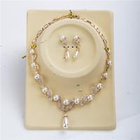 Ouro 18k menina colar de pérolas + brincos de pérola conjuntos de fábrica de flores de cristal pérola noiva moda mosaico conjunto de jóias coquetel conjunto de jóias