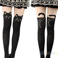 Wholesale- 2016 hotSexy Women Cat Tail Gipsy Mock Knee High Hosiery Pantyhose Panty Hose Tattoo Tights 000C 8QC7