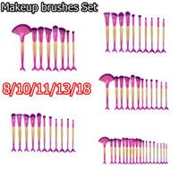 8/10/11/13 unids Sirena Maquillaje Cepillos Conjuntos para Base de Polvo Contorno de Escamas de Pescado Belleza Multiusos Arco Iris Cosmético Maquillaje Cepillo Kits