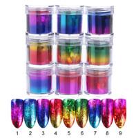 6pcs / lot Carta stagnola per unghie sfumata a gradiente 9 colori Adesivi per trasferimento unghie Accessori per manicure Decorazioni per nail art