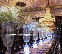 Alto e grande mesa de cristal top lustre centrais para casamentos, peças centrais de cristal para mesa de casamento por atacado